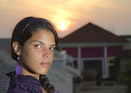 Latin Teenager Portrait in a Sunset