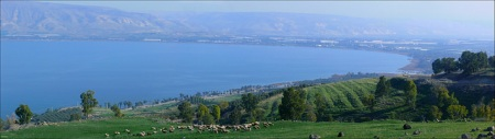 Kinnereth (Sea of Galilee), Israel - panorama of the southern end, February 5th, 2014
