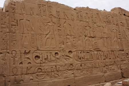 Wall in Karnak Egypt by Don McCrady